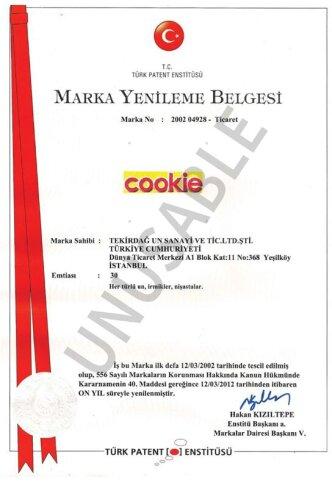 Cookie Marka Tescil Belgesi