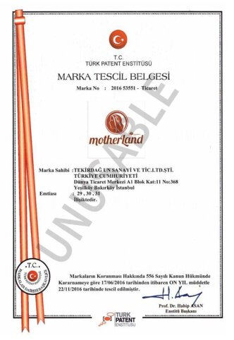 Motherland Marka Tescil Belgesi