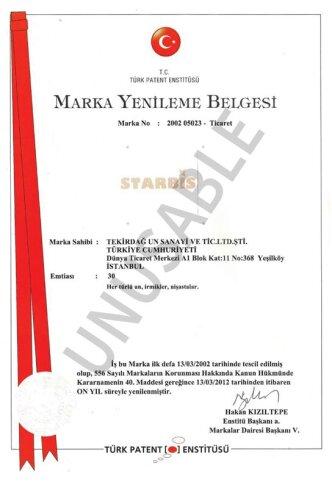 Starbis Marka Tescil Belgesi