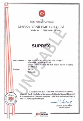 Suprex Marka Tescil Belgesi
