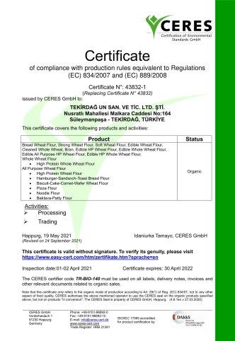ORGANIC CERTIFICATE EC 2021 r1