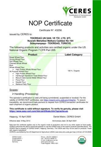 ORGANIC CERTIFICATE NOP 2020